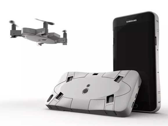 折叠放进手机壳的SELFLY无人机