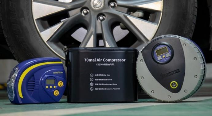 70迈、米其林、固特异三款汽车轮胎充气泵对比